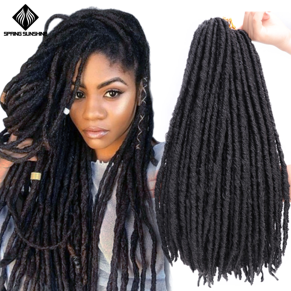 Spring Sunshine 16 20inch Ombre Faux Locs Crochet  Braids Synthetic Braiding Hair Extensions Straight Dreadlocks Braid Hair