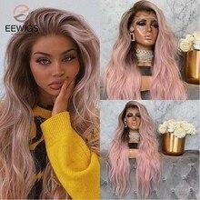 Eewigs 28 polegada cor pêssego longo ondulado peruca rosa peruca dianteira do laço sintético com linha fina natural glueless perucas para preto