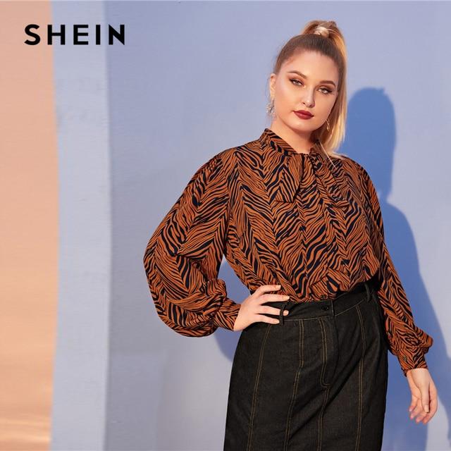 SHEIN Plus Size Multicolor Tiger Skin Print Tie Neck Blouse Top Women Autumn Bishop Sleeve Elegant Office Lady Plus Blouses 2