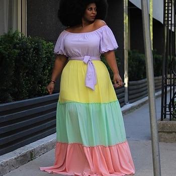 Vestido Maxi de verano para fiesta de noche de talla grande para mujeres 4XL 5XL 2020 de manga corta de Patchwork elegante vestido grande para damas Vestidos