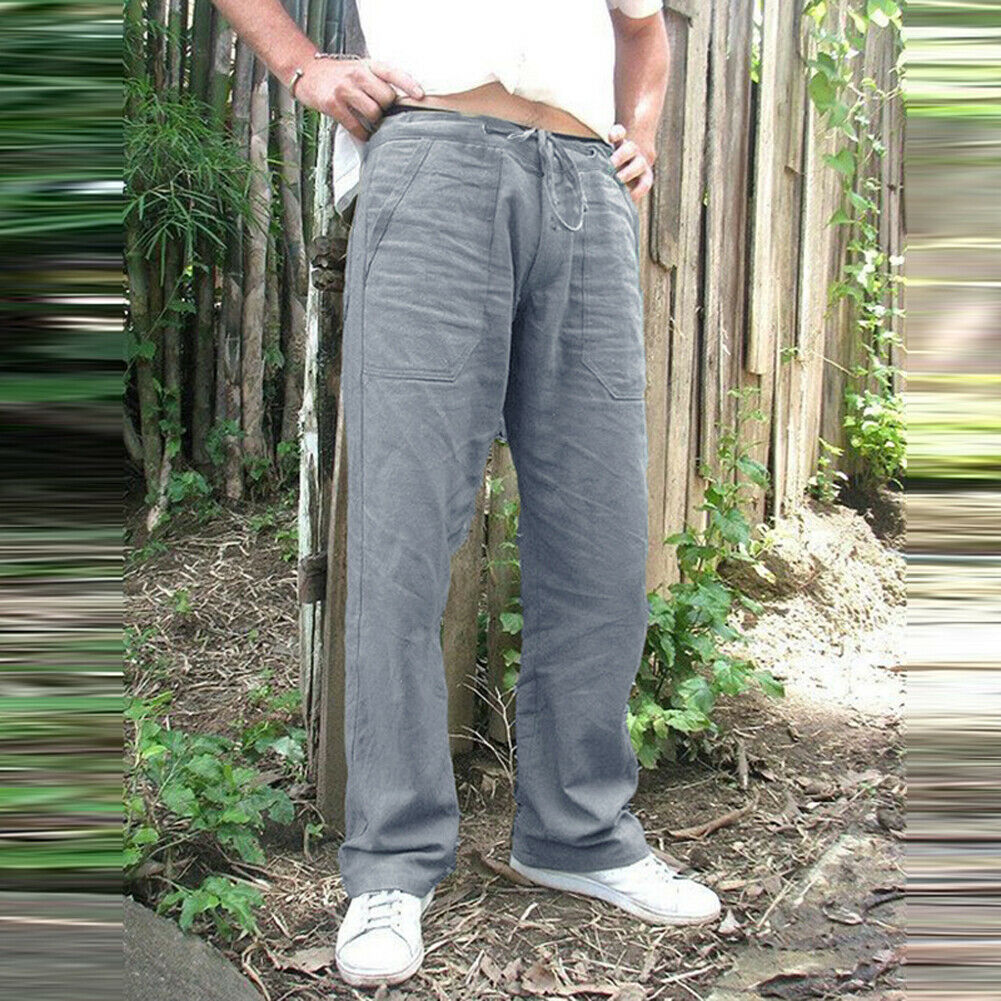 Men's Hemp Casual Pants Vintage Pockets Linen Loose Straight Pant Beach Yoga Gym Drawstring Baggy Trousers Soild Color Plus Size