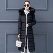 Women Fashion Outerwear Long Cotton-padded Jackets Pocket Faux Fur Hooded Coats Female Hooded Jacket High Quality Jacket Y829 drawstring zip pocket faux fur hooded flocking jacket