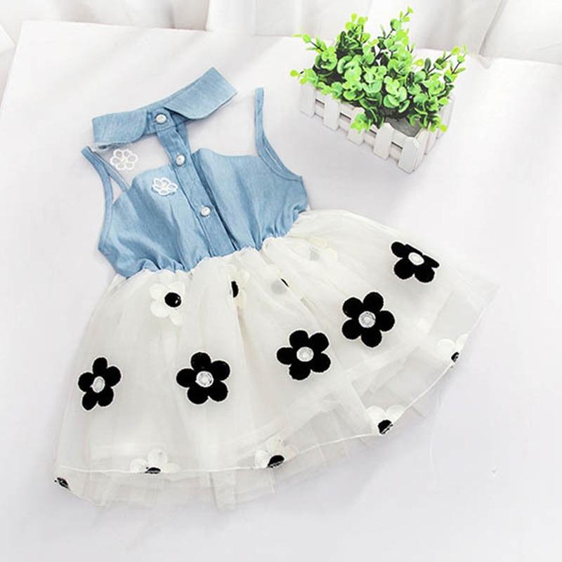 Bebê meninas vestido sem mangas tutu princesa meninas vestidos rendas denim camisa floral malha vestido infantil