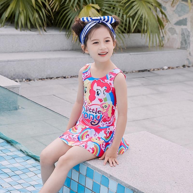 Water Park Swimming Pool KID'S Swimwear Dress-Swimwear Cute Printed Cartoon GIRL'S Bathing Suit