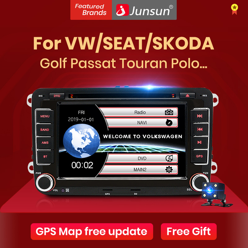 Junsun 2 din Car Radio Multimedia Player GPS for Volkswagen VW golf passat b6 Touran polo sedan Tiguan jetta Android 9 2din DVD(China)