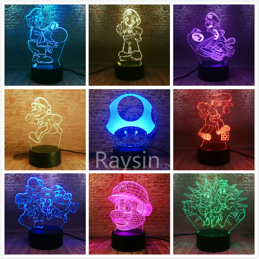 11 Versions 3D LED Mario Modeling Super Mario Bros Yoshi Lamp 7 Colors Change Night Lights Boys Xmas Festival Birthday Toys Gift