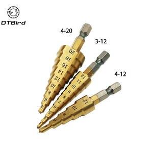 4-20 mm cône Étape Drill Bit HSS Titane Scie Trou spirale Fraise Pour Aluminium #ur2