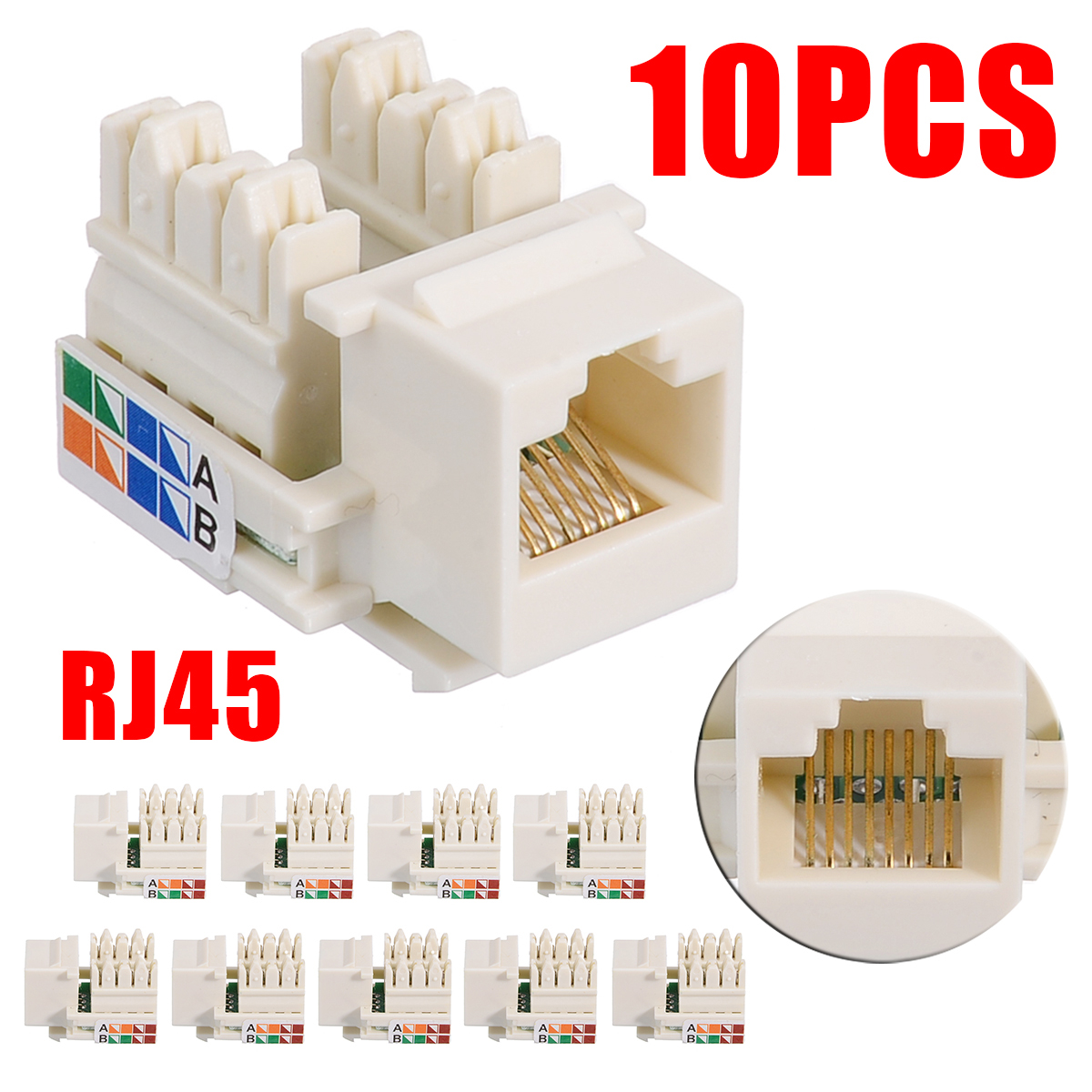 Computer Parts 10Pcs RJ45 CAT5e Keystone Jack 8P8C Panel-type Unshielded Ethernet Network Clip Module Wall Plug Connector