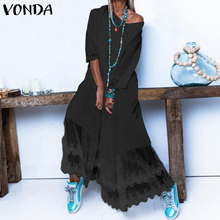 VONDA Bohemian-Dress Maxi Lace Patchwork Party Spring Summer Sexy Plus-Size Casual Loose
