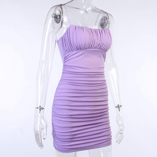 Fashion Ruched Bodycon Party Dresses For Women Sling Sleeveless Purple Black Mini Dress Clubwear Slim Skinny Dresess Mujer 6