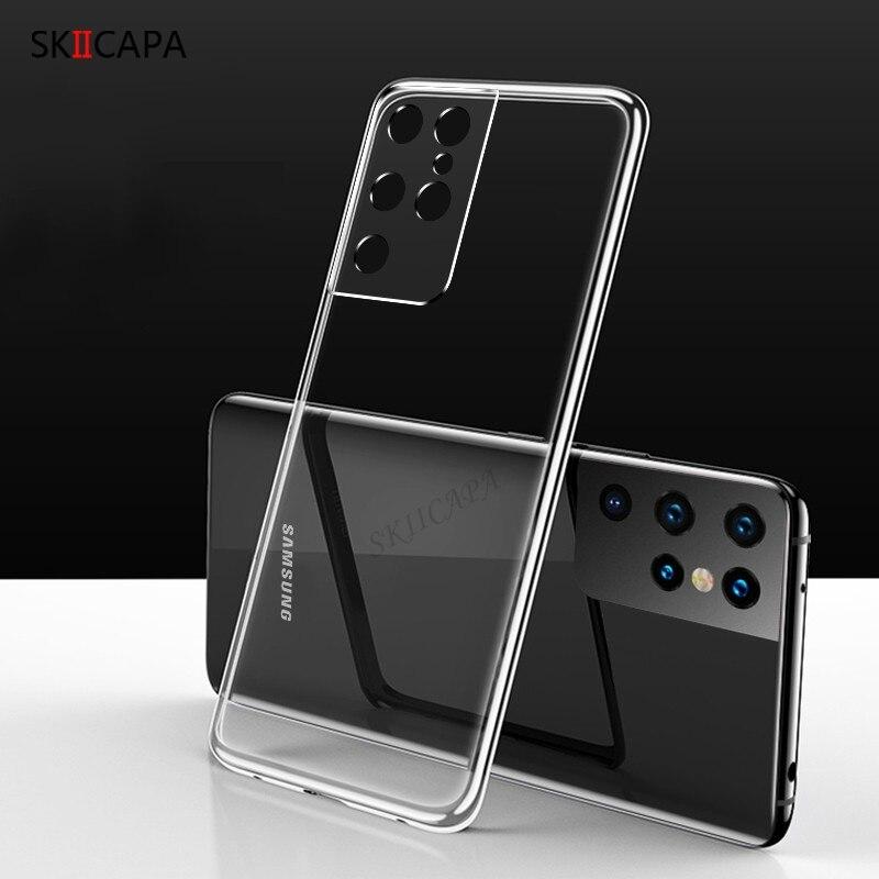 Ультратонкий Прозрачный мягкий чехол из ТПУ для Samsung Galaxy S21 Plus, Защитные чехлы для камеры Samsung S21, задняя крышка