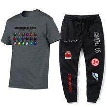 A MONG US Game Printing Men's Sports suit + Sports Pants set Street Men's suit Fashion Men's two-piece suit