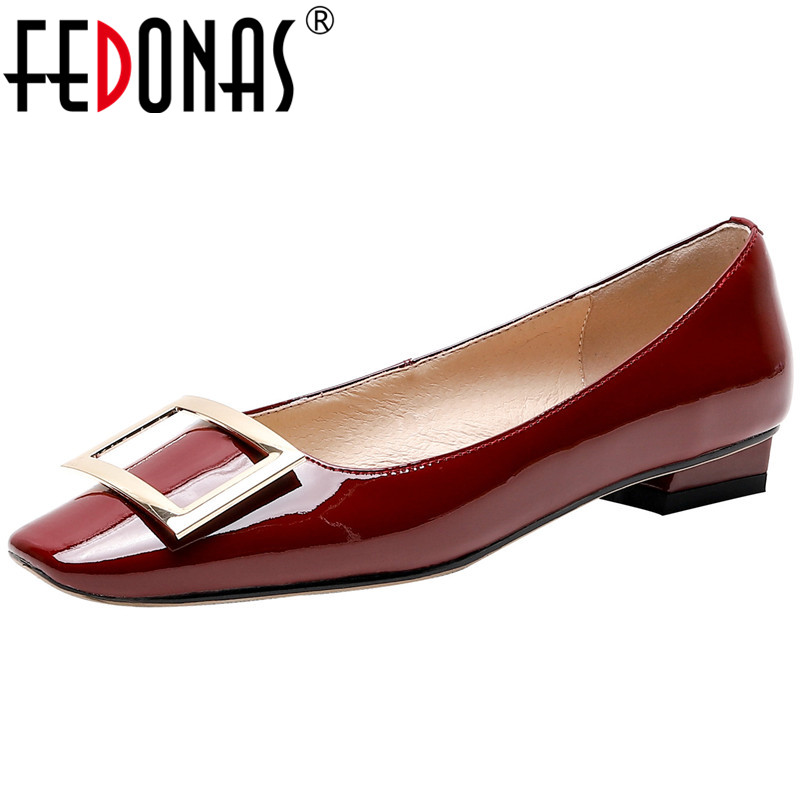 FEDONAS Top Quality Women Pumps Fashion Metal Decoration Sqaure Heeled Cow Patent Leather Shoes Woman Pointed Toe Shoes Woman