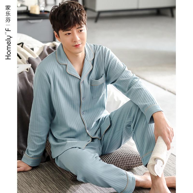 Casual Loose Sleepwear Thin Autumn Long Sleeve Korean Bedroom Cotton Comfy Set Sleepwear Szata Zestawy Men's Sleep DB60SY