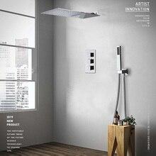 Ensemble de robinets de douche effet cascade et effet pluie, Chrome, mitigeur thermostatique de douche avec pomme de douche à main