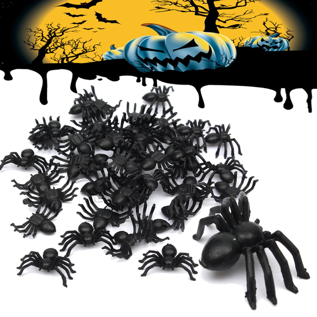 50Pcs/Set Halloween Decorative Spiders Small Black Plastic Fake Spider Toys Novelty Funny Joke Prank Realistic Props