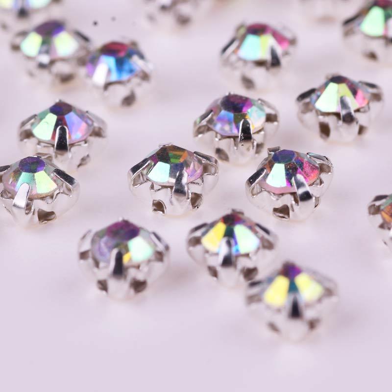 Diamantes de garra plateada para coser en ropa, diamantes de imitación, perlas de cristal claro, cristal de diamantes de imitación, Thermomix, apliques rojos, manualidades
