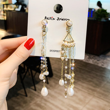 Europe and the United States the new net red asymmetrical pearl tassel long earrings temperament personality  earrings women цена