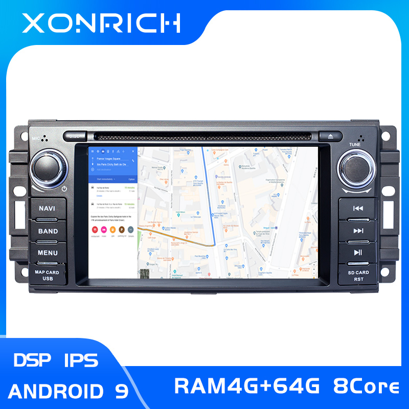 4G 2 Din Android 9 Car DVD Player For Jeep <font><b>Grand</b></font> <font><b>Cherokee</b></font> Chrysler 300C Compass Patriot Dodge SebringGPS Navigation Radio Stereo image