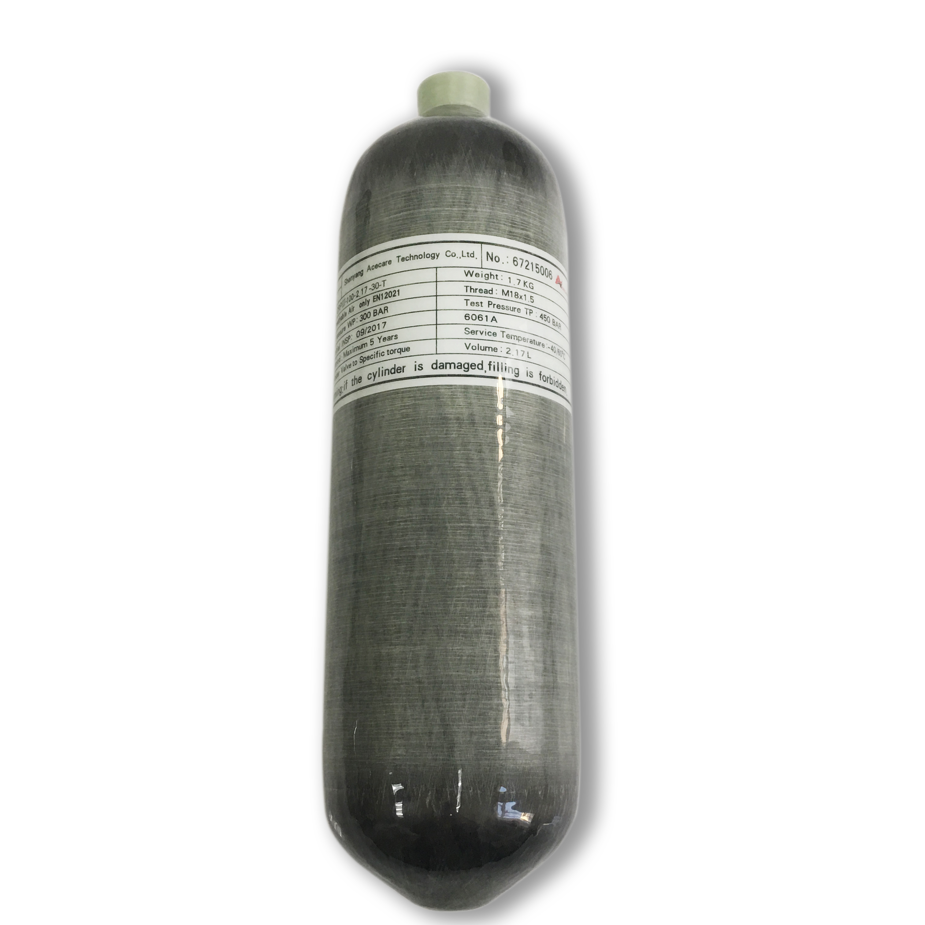 AC1217  Pcp Cylinder High Pressure 2.17L 4500Psi 30Mpa Bottle Carbon Fiber Tank For Airforce Condor Ce Air Rifle Acecare