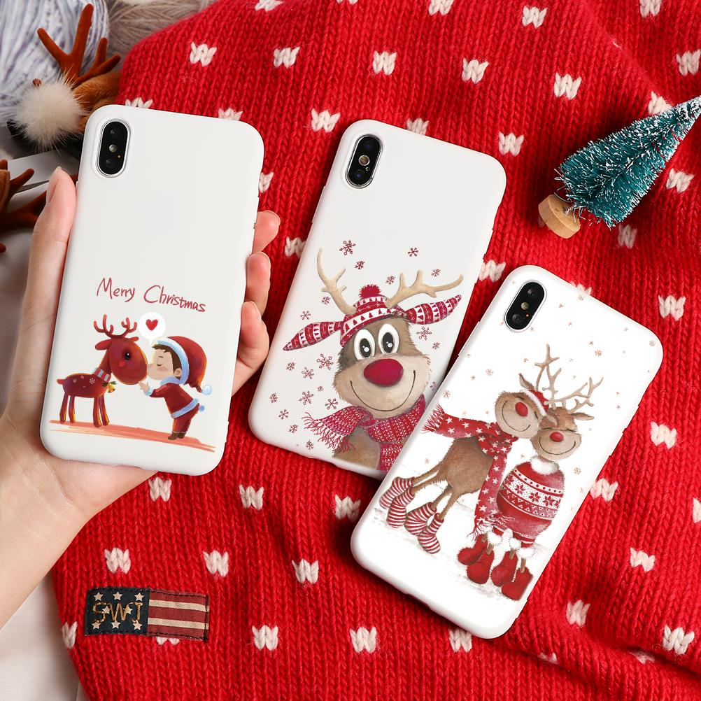 Merry Christmas Santa Claus Deer Xmas Print Silicon Soft TPU Phone Case For iPhone 7 8 6 6S Plus XR X 11 Pro XS Max 5 5S SE Case