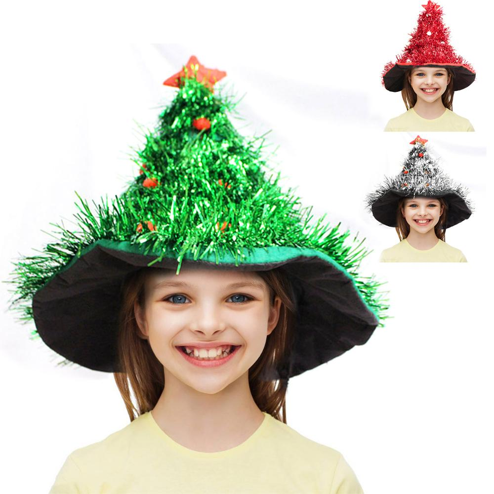Kids Adults Christmas Tree Hat Xmas Santa Hat Cap New Year Christmas Masquerade Party Cosplay Costume Headwear Accessories Toy