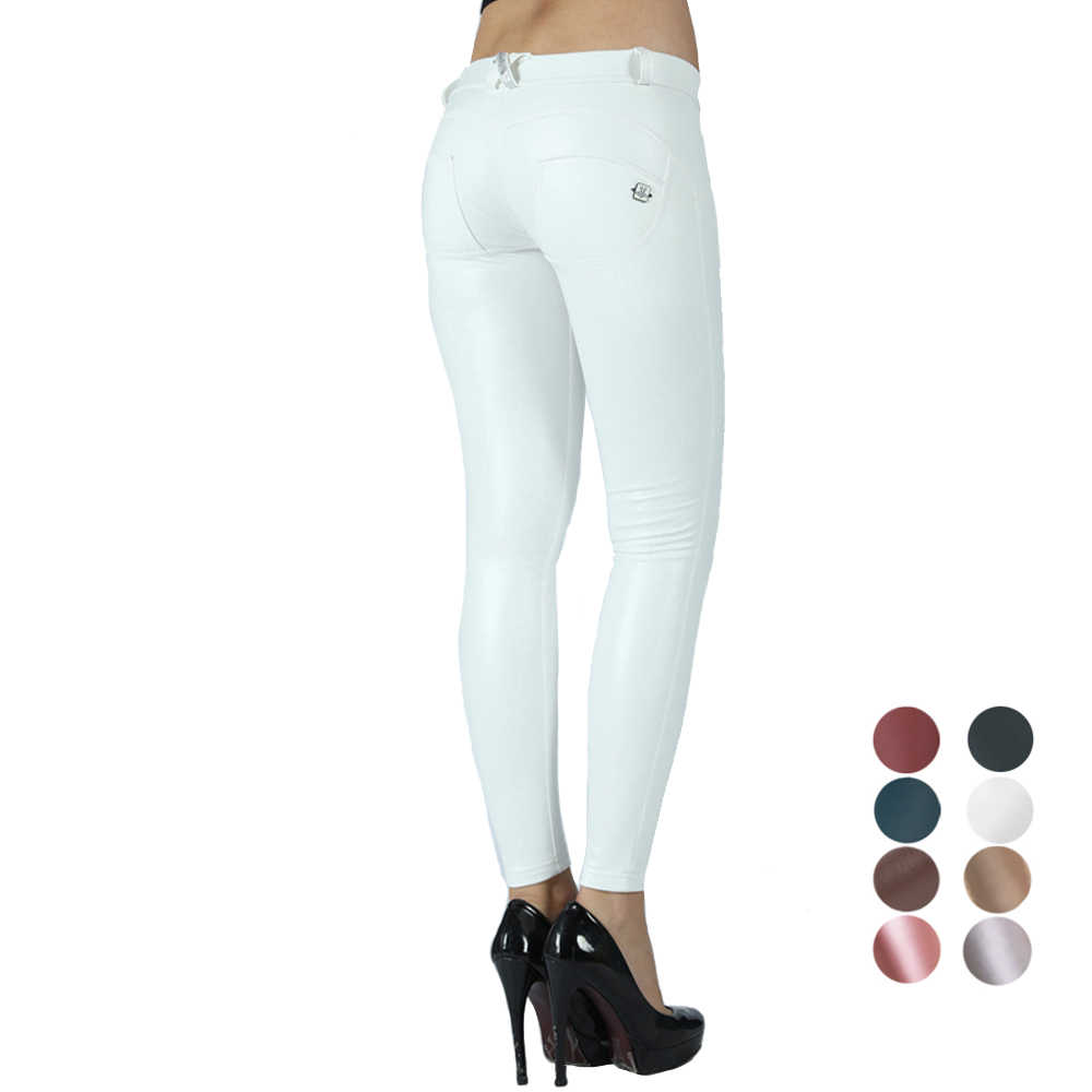 Melody Wit Lederen Broek Vrouwen Naadloze Shapewear Skinny Fitness Broek Full Length Warm Butt Lift Compressie Kledingstuk Dames