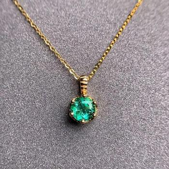 shilovem 18K yellow Gold real Natural emerald pendants fine Jewelry plant gift new plant none necklace 5*5mm  dz0505283ml 5