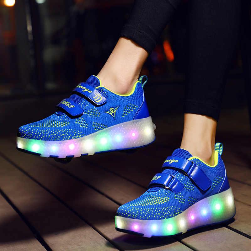 Boyutu 27-40 silindirler Sneakers çocuk LED parlayan aydınlık Sneakers ile Light Up ayakkabı çocuk Boys kız sepetleri LED terlik