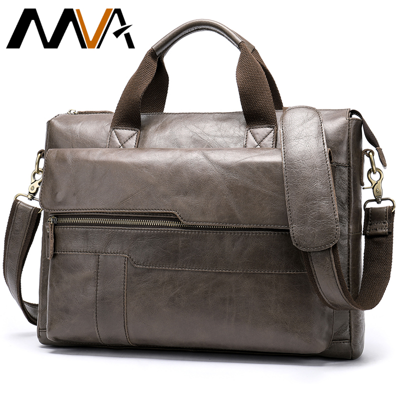 MVA Men's Briefcase Genuine Leather Laptop Bag Men's Leather Bag Office Bags For Men Laptop Briefcase Lawyer Men Bags 8615