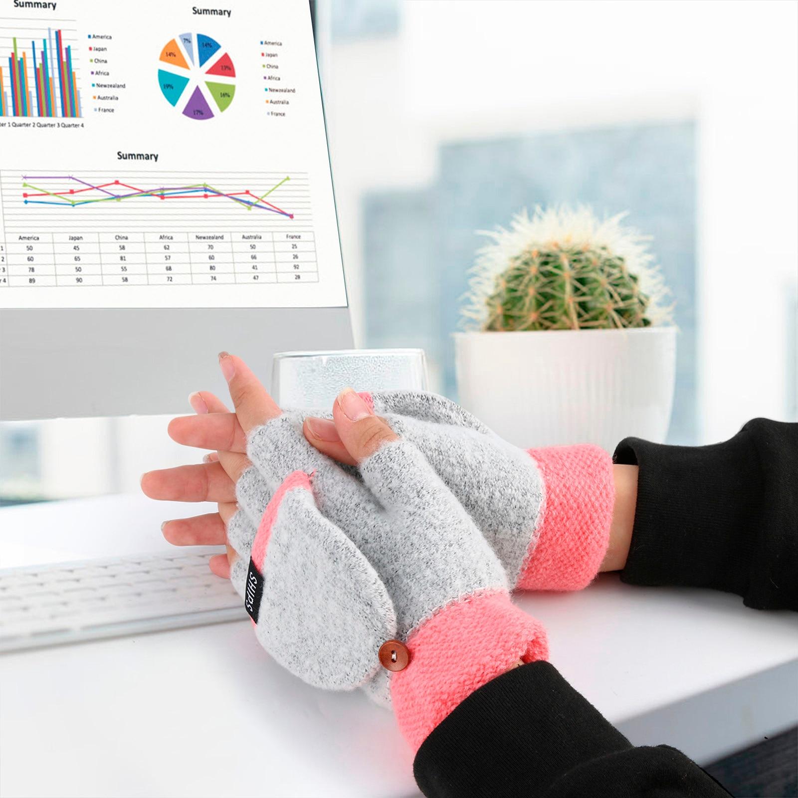 Women Men USB Heated Gloves Full & Half Finger Winter Keep Warm Knit Convertible Flip Top Fingerless Mittens Gloves Перчатки #M