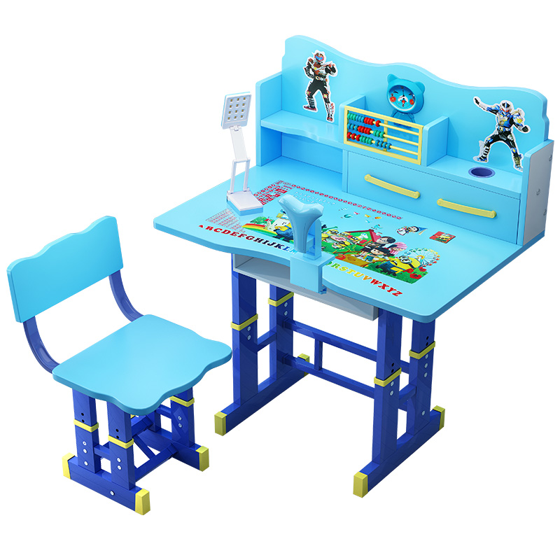 Children's Desk Writing Desks And Chairs Primary Bookcase Combination Girls And Boys Lifting Learning Table