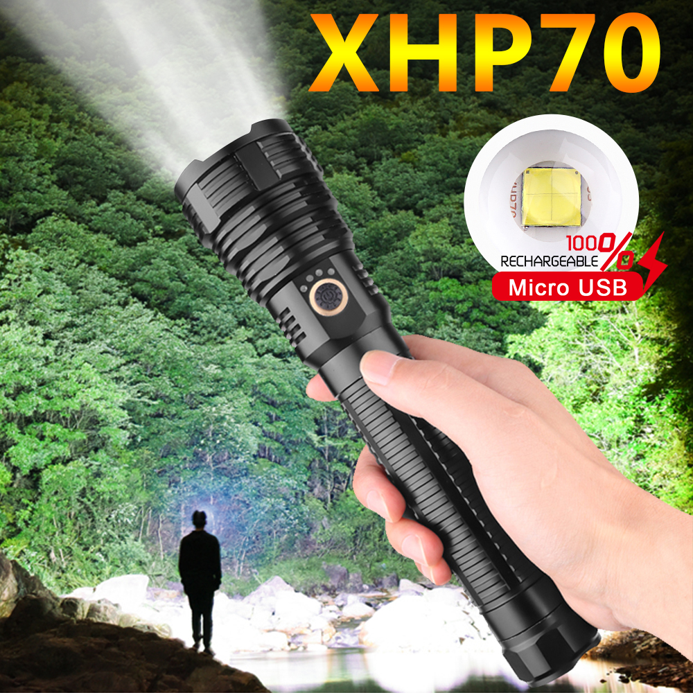 Most Powerful LED Flashlight Zoom Torch XHP70 USB Rechargeable Waterproof Lamp Use 18650 26650 For Fishing Camping