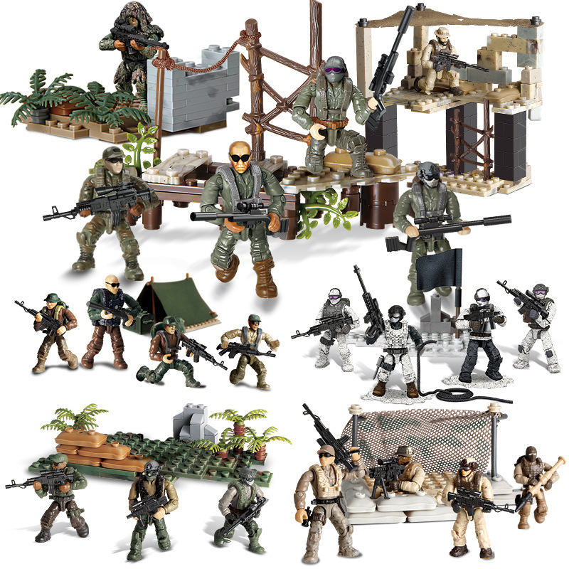 Military Series PUBG Battlegrounds SWAT Soliders Action Figures Army WW2 Weapons Guns Sets Model Building Blocks Kit Bricks Toys