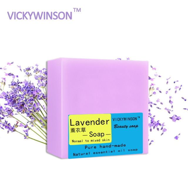VICKYWINSON 100% natural herbal beauty soap Lavender soap anti allergic soap anti bacterial soap 100g