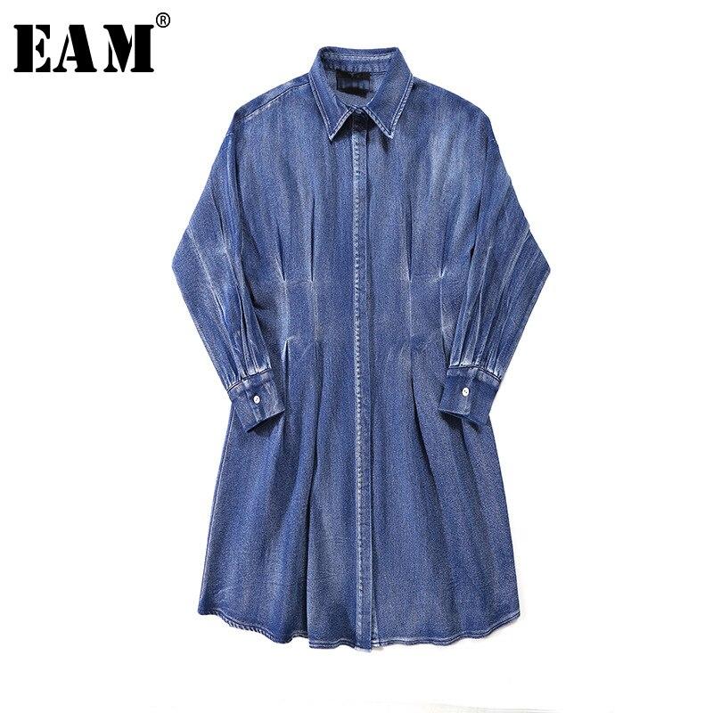 [EAM] Women Blue Denim Pleated Split Joint Shirt Dress New Lapel Long Sleeve Loose Fit Fashion Tide Spring Summer 2020 1Z208