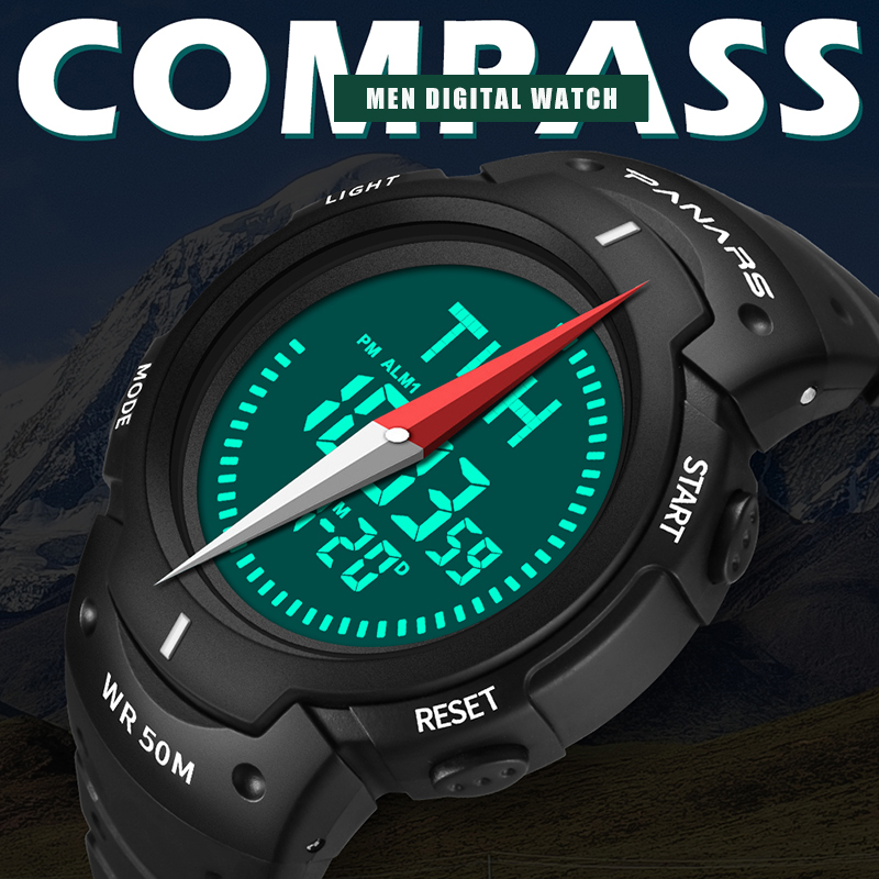 PANARS Outdoor Sport Digital Men Watch with Compass Electronic Wrist Watches Male Chronograph Count Down Timer Alarm Clock 8208