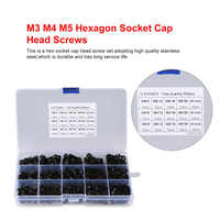 500PCS M3 M4 M5 Hexagon Hex Socket Head Cap Screws set Stainless Steel Hex Socket Head Cap Screws with M3 M4 M5 Nuts