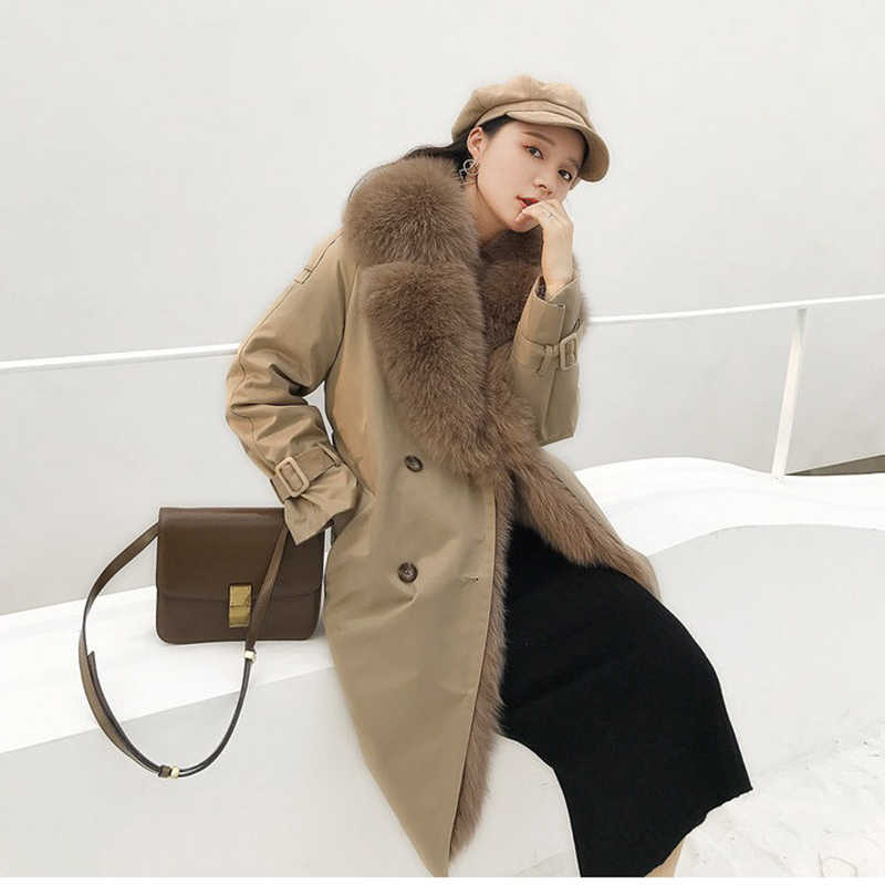 Winter coat women long real fur parka with fox fur collar plus size double-breasted england style clothes