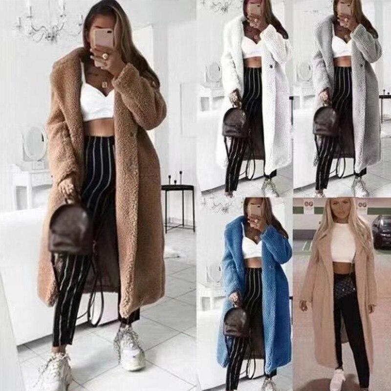 Women White Loose Solid Long Coat Female Vintage Thick Faux Coats 2020 Autumn Winter Ladies Casual Coat Plus Size 5XL
