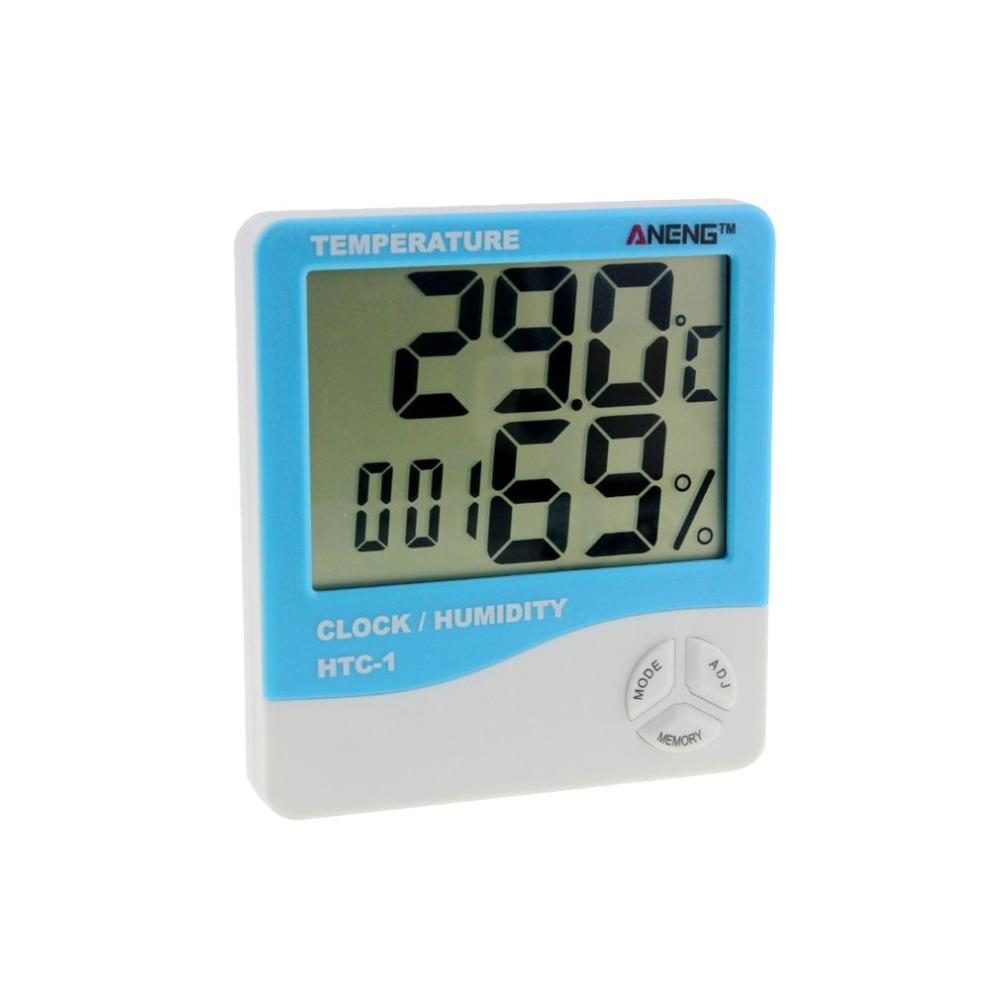 HTC-1 Indoor LCD Electronic Digital Temperature Humidity Meter Room Thermometer Hygrometer Alarm Clock Weather Station