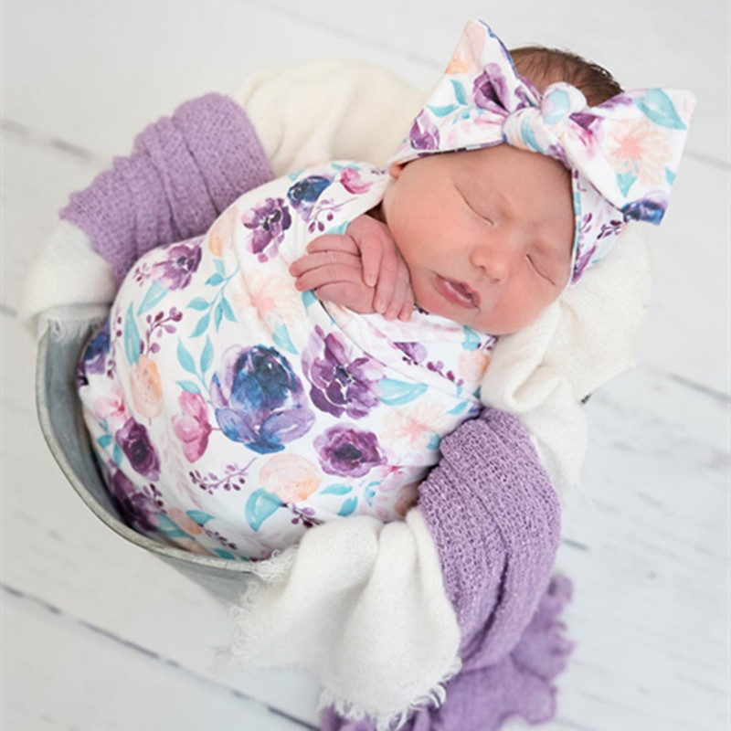 2pcs/set Baby Sleeping Bag Swaddle Blanket Newborn Floral Swaddle Blanket Toddler Receiving Blanket Infant Swaddle Wrap Headband