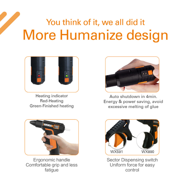 Worx 4V Melt Hot Glue Gun WX890 Electric glue gun Rechargeable Wireless Repair Tool Heat Mini Gun 7mm Glue Stick Household Tool 4