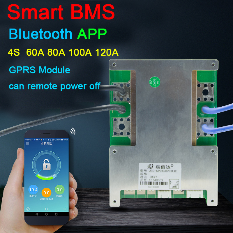 Smart 4S células 12v 120a 1000a lifepo4 li-ion bateria de lítio placa de proteção w equilíbrio alta corrente bms bluetooth app gprs modu