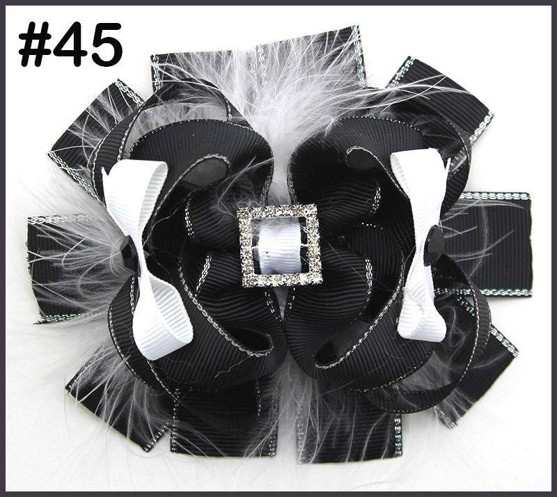 15 шт., 4,5 дюйма, бант для волос с перьями, стразы, заколки для волос, популярный бант для волос, аксессуары для волос для маленьких девочек