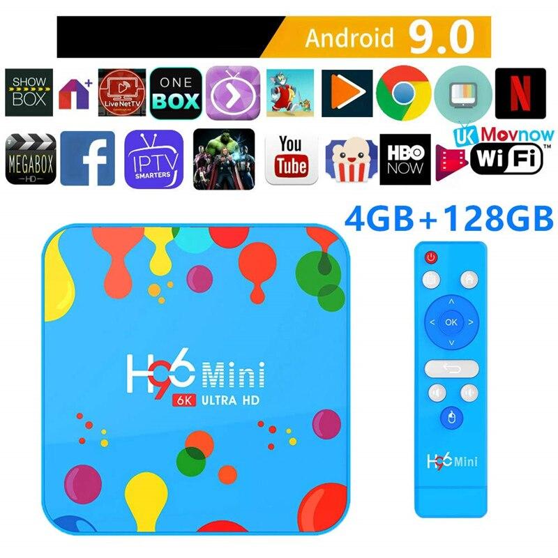 H96mini H6 TV Box Android 9.0 6K 4GB 32 GB/128 GB H6 Quad Core lecteur multimédia Iptv abonnement YouTube Wifi2.4G/5G Smart TV Box