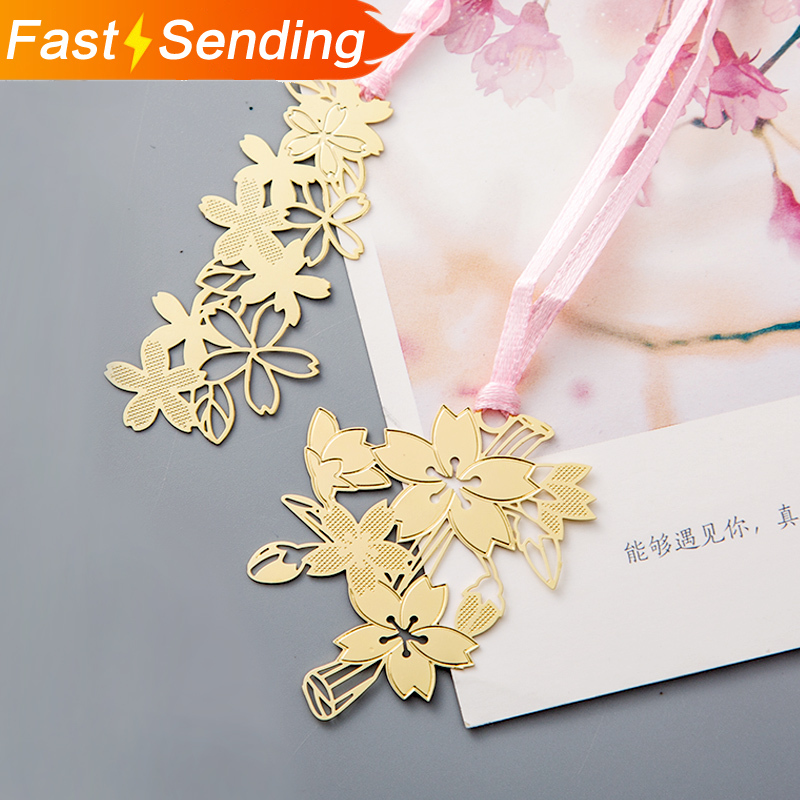 JIANWU 1pcs Kawaii Decoration  Sakura Japan Metal Pendant Bookmark Paper Bookmark Student  Stationery School Supplies Cute