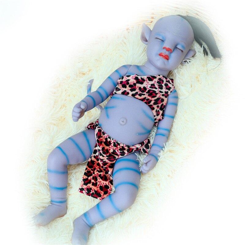 Reborn Baby Puppe 20 Zoll Lebensechte Newborn Süße Blau Baby Nachtlicht Voll Vinyl Puppe Geschenk Spielzeug für Kinder weihnachten Geschenk