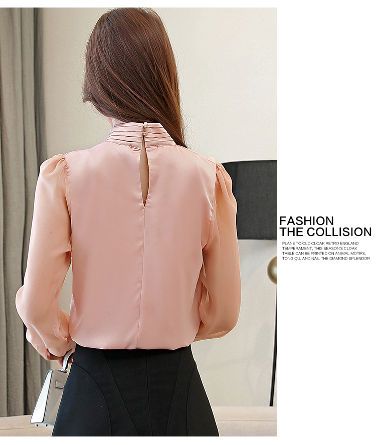 Long Sleeve Tie Bow Chiffon Turtleneck Blouse Shirt 9