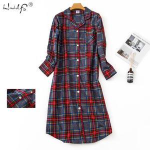 Image 4 - Robe de nuit en coton, pyjama de dessin animé, vêtements de nuit pour femmes, vêtements de nuit, longs, à carreaux, à poches